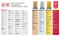 Laureaci certyfikatu Jakość Roku 2016
